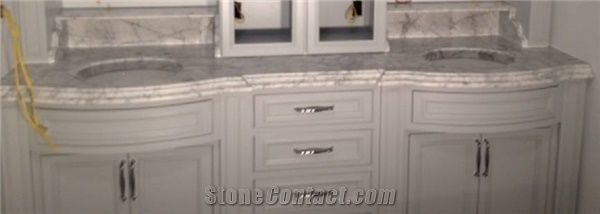 2 Quot Thick White Carrara Curved Front Vanity Double Ogee