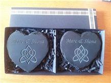 Highland Slate Personalised Heart Coasters