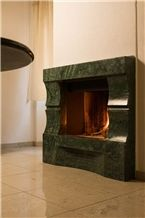 Verde Issorie Marble Fireplace Design