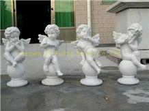 White Vein Marble Sculpture, Angel Sculptures