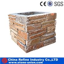 Cement Gate Posts for Garden, China Slate Cultured Stone Gate Posts,Cement Slate Pillars Column, Fence Stone Pillars Surrounds Slate Panels