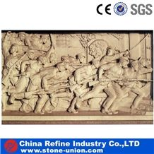 China Yellow Limestone Humen Beings Relief Carving , Yellow Wall Relief Sculpture,Engraving Ideas,Relief Design,Beige Limestone Relief & Etching, Wall Reliefs, China Limestone Reliefs