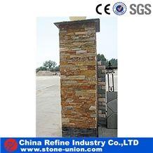 Decorative Natural Stone Gate Post Slate Cultured Stone Gate Post,Cement Slate Pillars Column, Fence Stone Pillars Surrounds Slate Panels