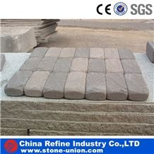 Grey Sandstone Roller Paving Stone,China Cheap Tumbled Sandstone for Sale,Walkway Paving Stone Made in China,High Quality Cobble Sandstone Cube Stone,Road Pavers