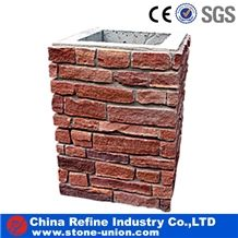 Hot Sale Stone Gate Post China Red Slate Gate Post,Natural Stone Mailbox,Entrance Foyers,Slate Fence,Landscaping Stones