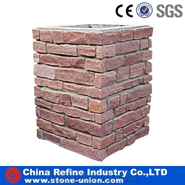 Hot Sale Stone Gate Post China Red Slate Gate Post Natural Stone Mailbox Entrance Foyers Slate Fence Landscaping Stones China Refine Industry Co Ltd