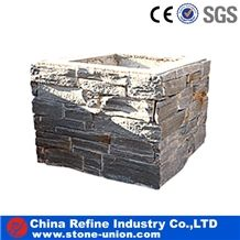 Slate Culture Stone Gate Post Cheap,Cement Slate Pillars Column, Fence Stone Pillars Surrounds Slate Panels Stone Show Panel with Bread