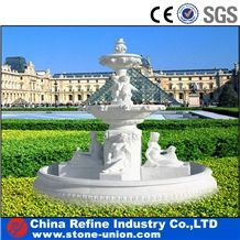 White Marble Human Sculptured Fountain,Outdoor Landscaping Water Fountain,White Marble Fountain