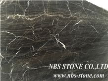 European Network Red Vein Black Marble Slabs & Tiles, China Black Marble Floor Covering Tiles