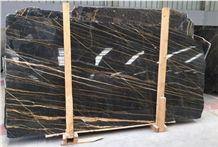 Black Gold Marble Slabs, Nero Port Laurent Marble Slabs, Nero Portoro Marble Slabs, Noir Saint Laurent Marble, Morocco Nero St Laurent Marble Slabs