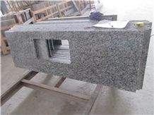 China Popular Cheap Spray/Seawave Sea Wave White Granite Polished Kitchen Countertops, Bar Tops, Worktops with Sink/Wash Basins Hole, Beveled Edge Profile, Nature Building Stone
