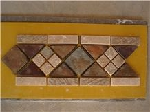 Rusty, Brown Slate Mosaic Molding, China Cheap Slate Mosaic Molding for Wall Line, Chipped Strips Mosaics,Split Face Mosaic Molding for Wall