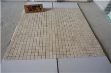 Spain Famous Crema Marfil Light Beige Marble Polished Mosaic Pattern Tiles Brick for Hotel Lobby Bathroom Wall, Floor Decoration, Factory Cheap Price