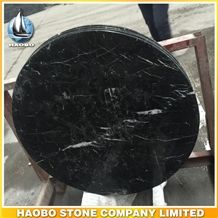 China Natural Black Nero Marquina Marble Round Shaped Solid Stone Coffee Tops, Tabletops Polished Surface for Building Hotel, Restaurant Projects