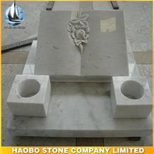 Hand Carved Flowers Quality White Marble Slant Headstone Book Types