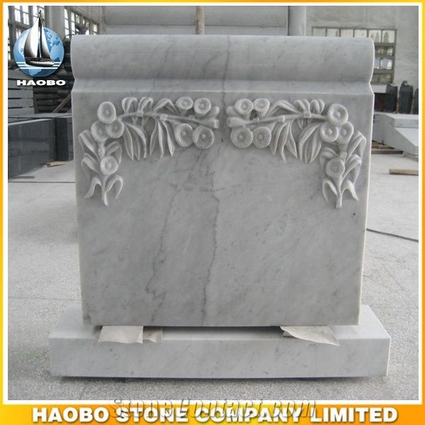 White Marble Upright Monument With Carved Flowers Scroll