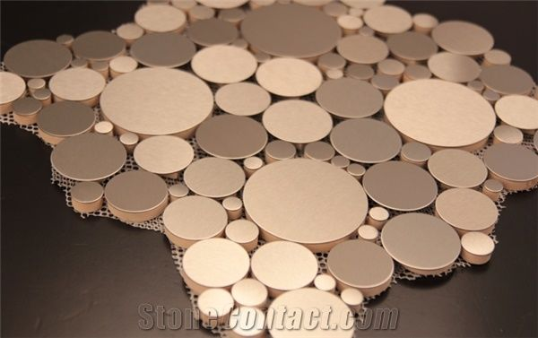 Metal Silver Mosaic Tiles Wall Mosaic PanelsFloor Mosaic Cladding - Glass floor panels for sale