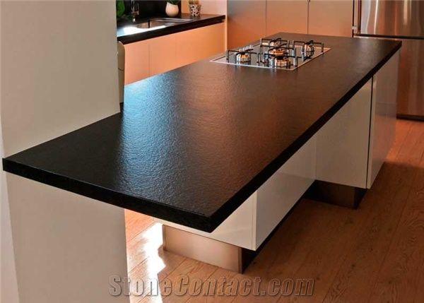 Black Color Quartz Stone Rock Solid Surface With Suede Texture For