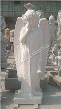 Angle Carving Granite Statue Figure Sculpture, White Granite Statues