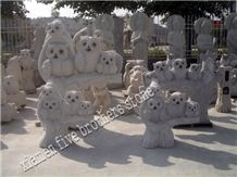 Natural White Granite Garden Stone Anmal Carving with Eagle Shape