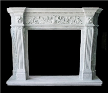 White Marble Fireplace Mantel Surround