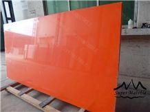 Pure Orange Red Quartz Stone Slab-Pl1017