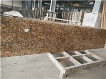 Brazil Yellow Granite Giallo Fiorito Tile & Slab,Polished Slab with Big Flower 270 cm X 60cm X.1.8cm