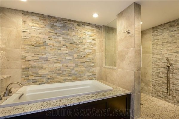 China Rust Yellow Slate Cultured Stone Stacked Stone Wall
