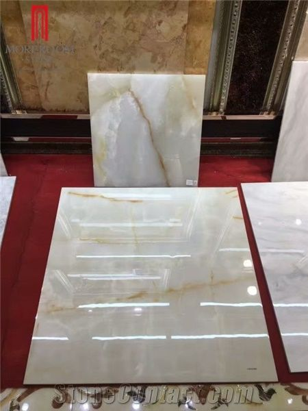 High Gloss Polished Snow White Porcelain Onyx Floor Tiles