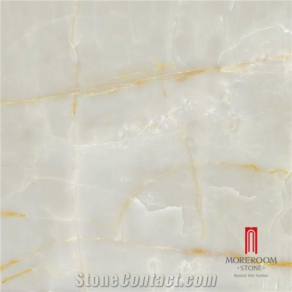 High Gloss Polished Snow White Porcelain Onyx Floor Tiles 60x60