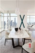 Italy White Dining Marble Table Top Design