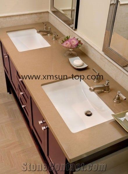 Artificial quartz stone bathroom countertop brown crystal - Engineered stone bathroom countertops ...