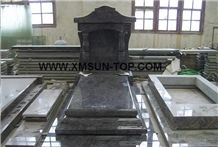 Bahama Blue Granite Tombstone&Monument Design/Bahamas Blue Granite Japanese Style Tombstones/Korean Style Upright Monuments/Asian Style Engraved Tombstone/Headstones/Custom Monuments