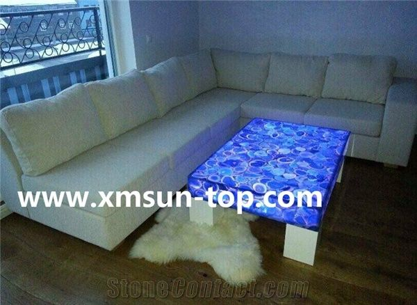 Blue Agate Semiprecious Stone Table Tea