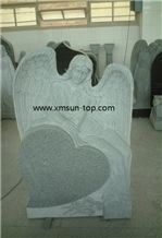 China G603 Angel & Heart Gravestone, Sesame White Tombstone & Monument, Bacuo White, Balma Grey Granite Gravestone, China Grey Monument, Bianco Crystal Granite Headstone