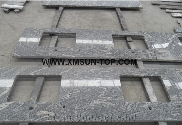Granite Bathroom Vanity Tops china juparana grey granite bathroom countertop with square sink
