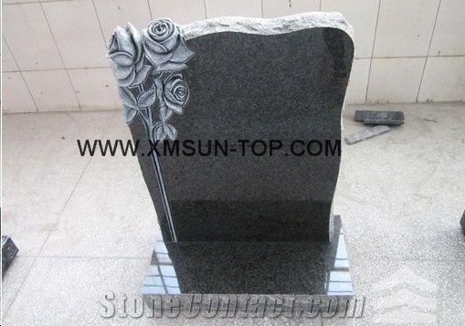 G654 Granite Tombstone Monument Design Sesame Black