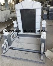 G654 Japanese Style Monuments&Tombstones/Sesame Black Granite Korean Style Monuments&Tombstone/China Impala Granite Asian Style Monuments&Tombstone