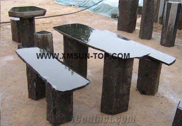 Natural Black Basalt Stone Garden Benchu0026Table/Natural Stone Outdoor  Furniture/Exterior Furniture/Park Stone Benchesu0026Chairs/Stone Table Sets