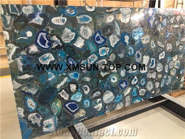 Standard blue agate semiprecious stone big slab tiles gangsaw slab