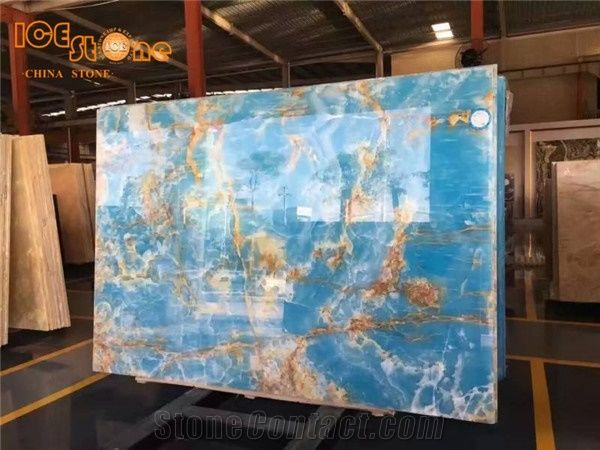Blue Onyx Slab Panel For Wall Blue Onyx With Gold Vein