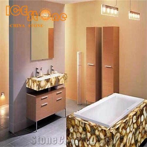 Multicolor Agate Bathroom Countertops Custom Vanity Tops Table Top Decoration Stone Luxury Semiprecious