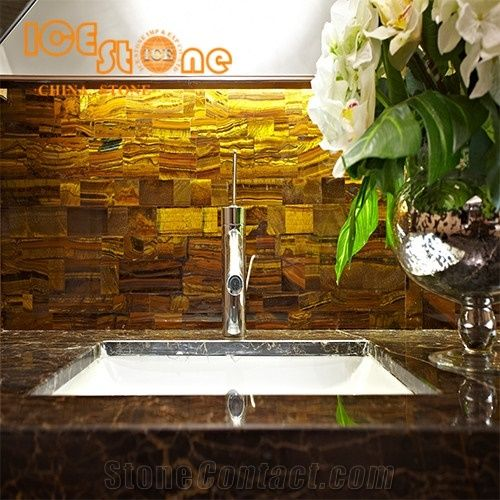 Yellow Tiger Eyes Bathroom Countertops Custom Vanity Tops Semiprecious Wall Decoration Stone Floor Covering Table Top