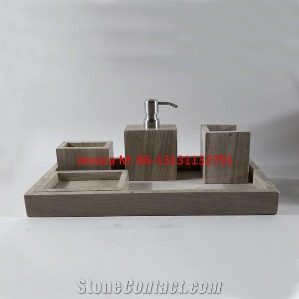 5pcs Set Of Wood Grains Marble Bathroom
