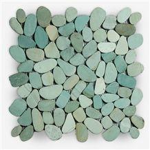 Indonesia Green Pebbles Mosaic Tiles, Green Beach Pebbles Mosaic for Wall and Floor Mosaic, Green Pebbles Wall Mosaic Pattern