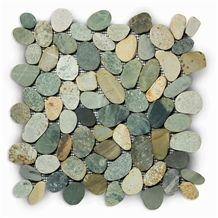 Indonesia Swarthy Multi Color Pebbles Mosaic Tiles, Mixed Color Slices Beach Pebbles Mosaic for Wall and Floor Mosaic, Earthy Mixed Color Pebbles Wall Mosaic Pattern
