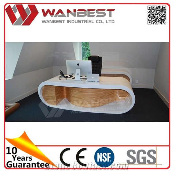Newest Design Fancy White Office Table Contemporary Furniture Round Ceo Modern