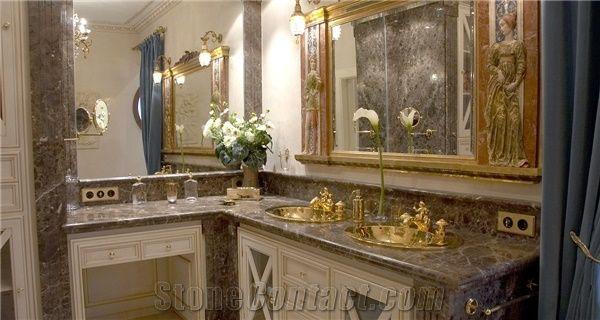 Light Marron Emperador And Crema Marfil Marble Bath Design From