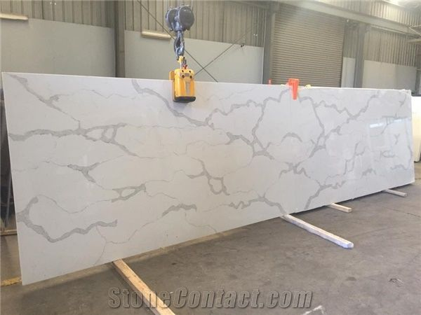 A Quality Calacatta White Marble Look Quartz Stone Solid Surfaces