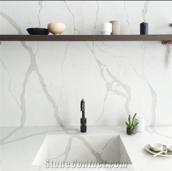 Calacatta White Marble Look Quartz Stone Solid Surfaces High Gloss Bath Top Vanity Top